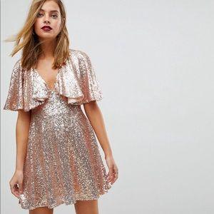 ASOS PETITE Sequin Fluted Sleeve Lace Mini-Dress